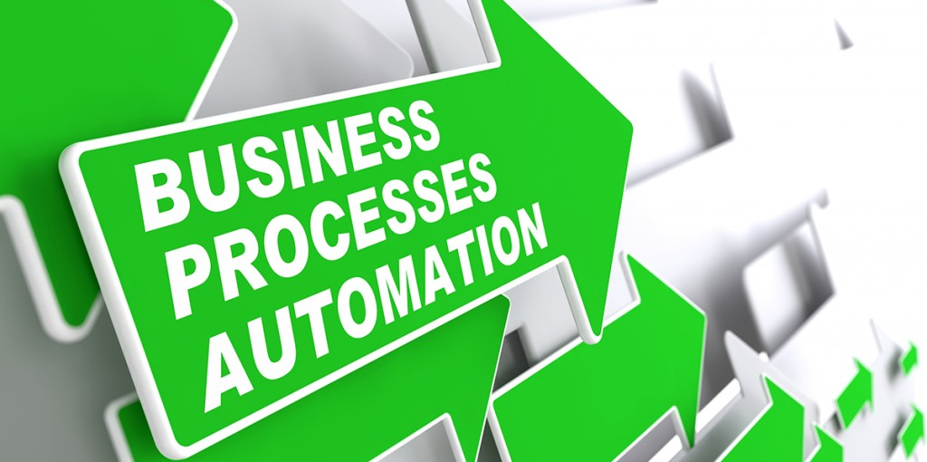 Business Processes Automation - Business Concept. Green Arrow with